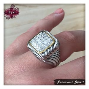 Two-tone crystal gem encrusted square cable ring